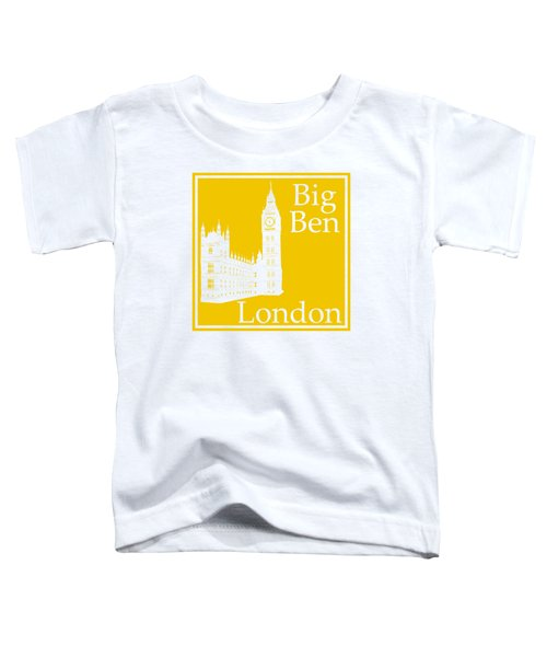 London's Big Ben In Mustard Yellow Toddler T-Shirt
