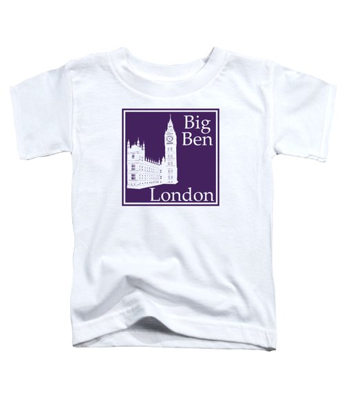 London's Big Ben In Purple Toddler T-Shirt by Custom Home Fashions