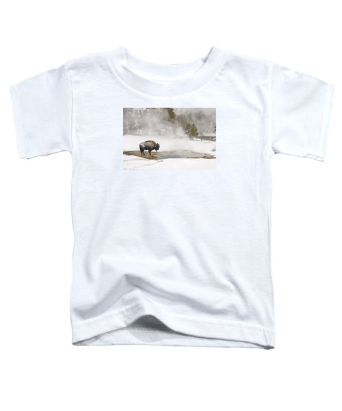 Toddler T-Shirt featuring the photograph Bison Keeping Warm by Gary Lengyel