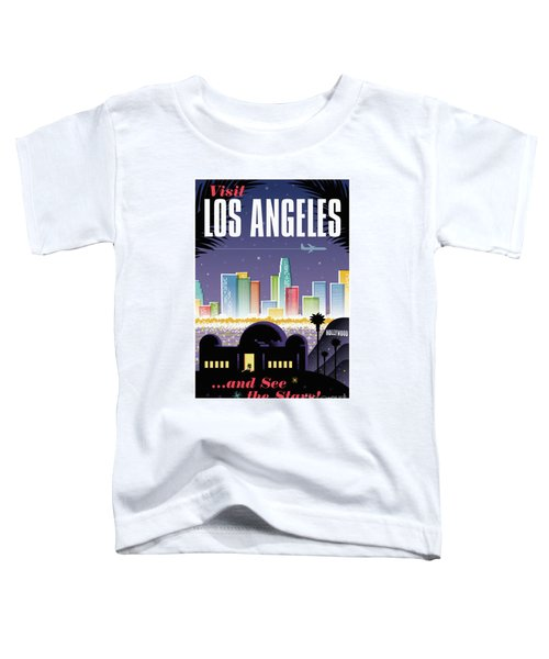Los Angeles Retro Travel Poster Toddler T-Shirt by Jim Zahniser