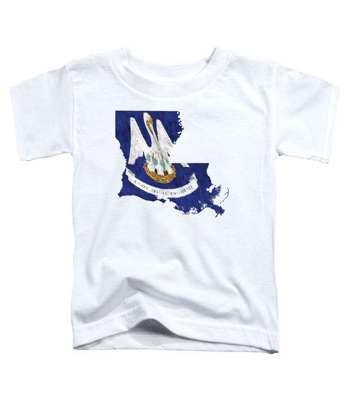 Louisiana Map Art With Flag Design Toddler T-Shirt