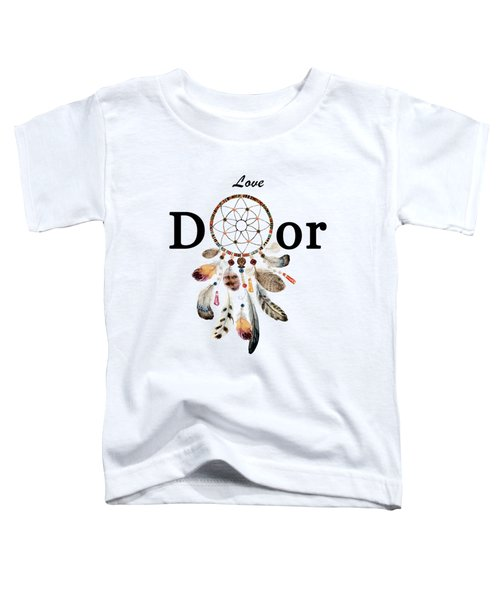 Toddler T-Shirt featuring the painting Love Dior Watercolour Dreamcatcher by Georgeta Blanaru