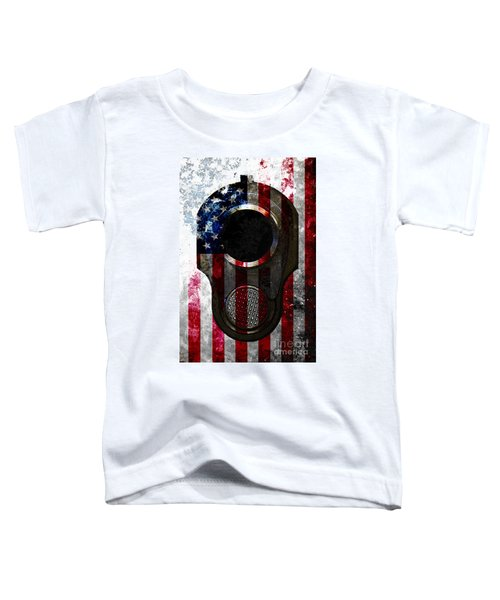 M1911 Colt 45 Muzzle And American Flag On Distressed Metal Sheet Toddler T-Shirt