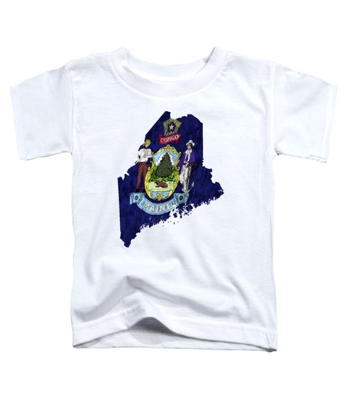Maine Map Art With Flag Design Toddler T-Shirt