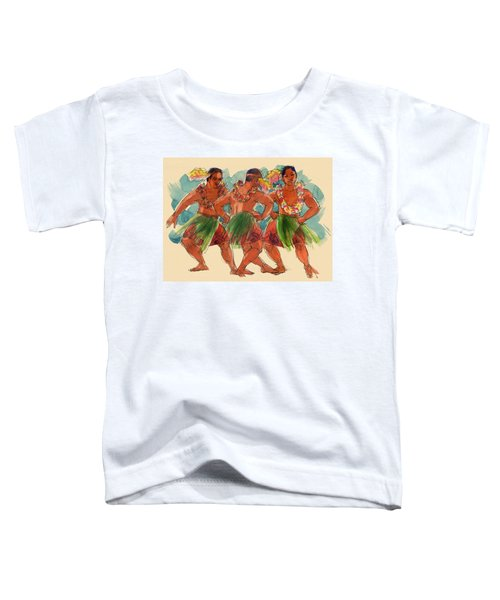 Toddler T-Shirt featuring the painting Male Dancers Of Lifuka, Tonga by Judith Kunzle