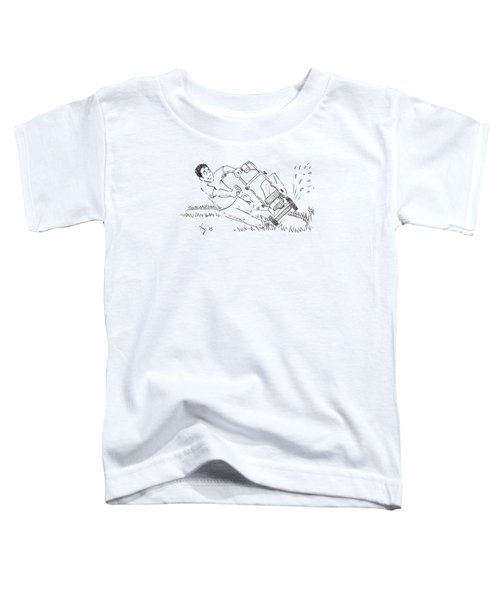 Man Mowing The Lawn Cartoon - Speed Mower Toddler T-Shirt
