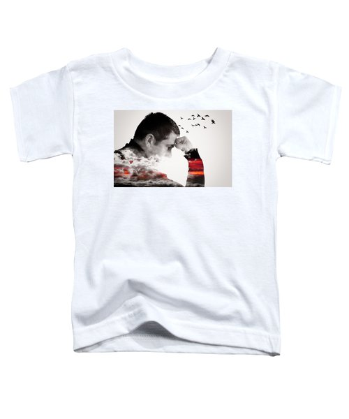 Man Thinking Double Exposure With Birds Toddler T-Shirt