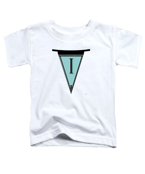 Pennant Deco Blues Banner Initial Letter I Toddler T-Shirt by Cecely Bloom
