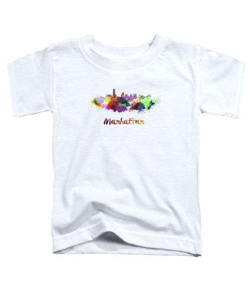 Manhattan Skyline In Watercolor Toddler T-Shirt