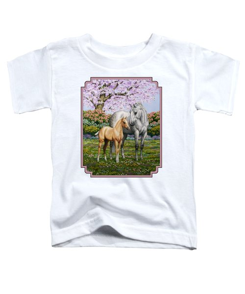 Mare And Foal Pillow Pink Toddler T-Shirt