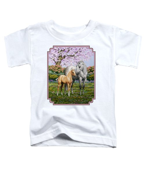 Mare And Foal Pillow Pink Toddler T-Shirt by Crista Forest