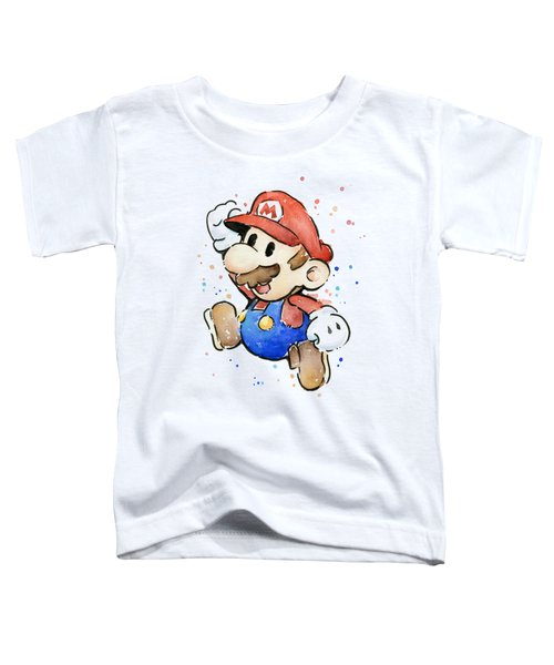 Mario Watercolor Fan Art Toddler T-Shirt