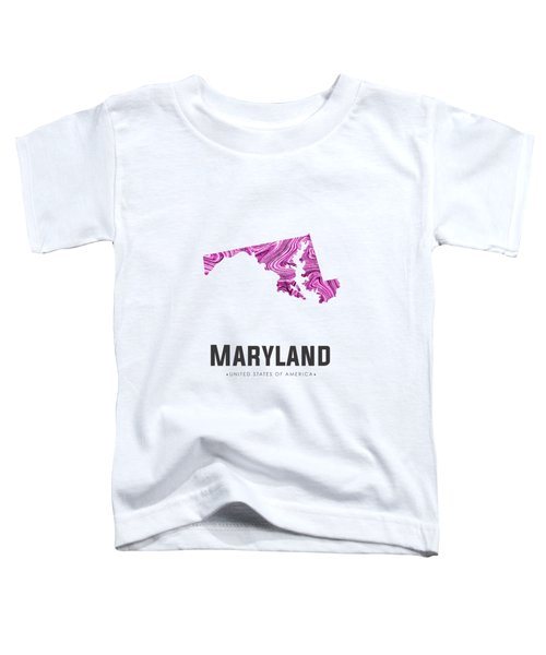 Maryland Map Art Abstract In Purple Toddler T-Shirt