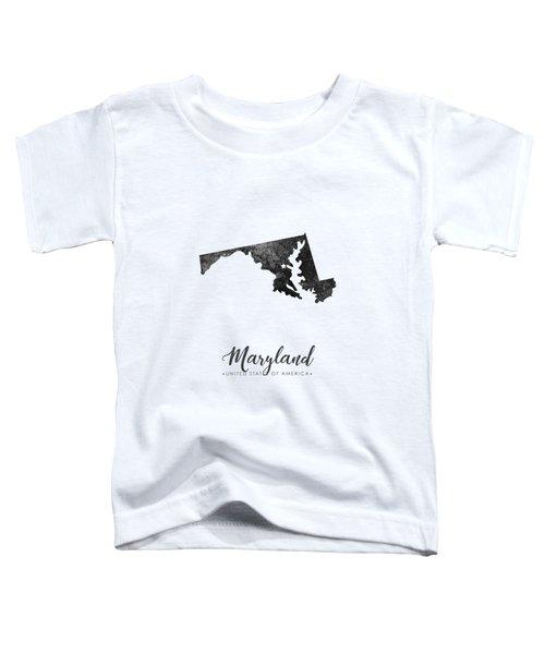 Maryland State Map Art - Grunge Silhouette Toddler T-Shirt