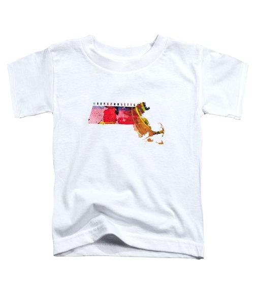 Massachusetts Map Art - Painted Map Of Massachusetts Toddler T-Shirt