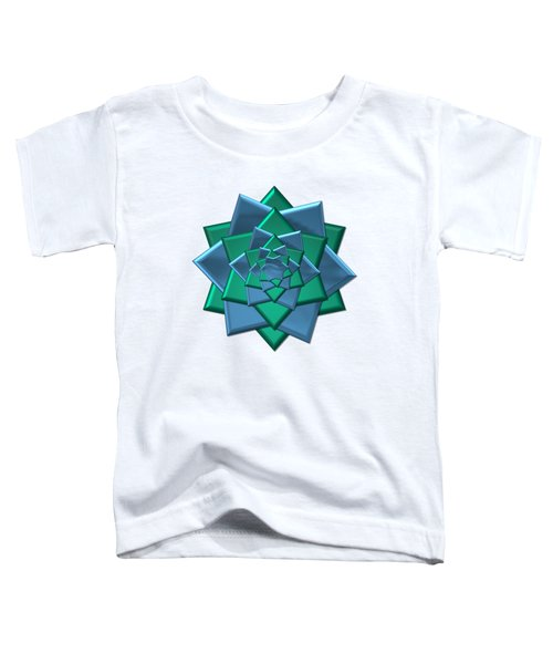 Metallic Blue And Green 3-d Look Gift Bow Toddler T-Shirt