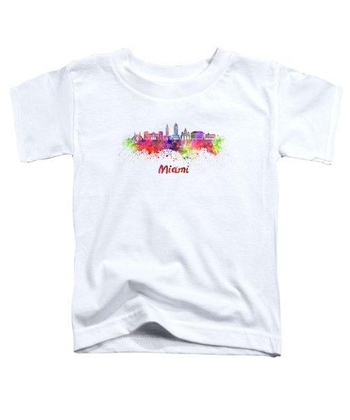 Miami V2 Skyline In Watercolor Toddler T-Shirt