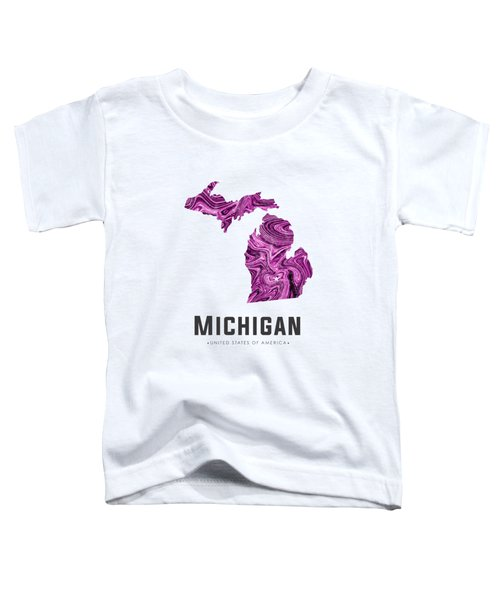 Michigan Map Art Abstract In Purple Toddler T-Shirt
