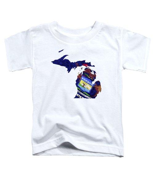 Michigan Map Art With Flag Design Toddler T-Shirt