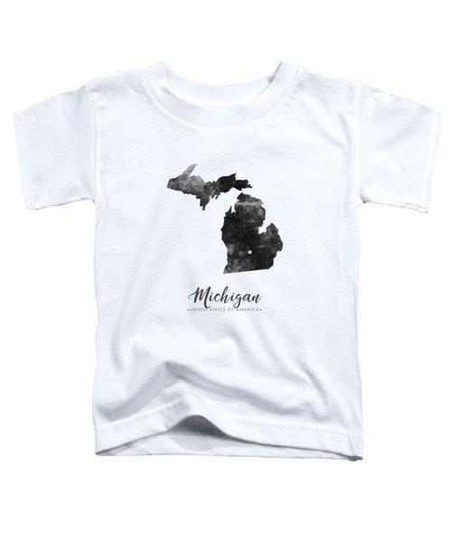 Michigan State Map Art - Grunge Silhouette Toddler T-Shirt
