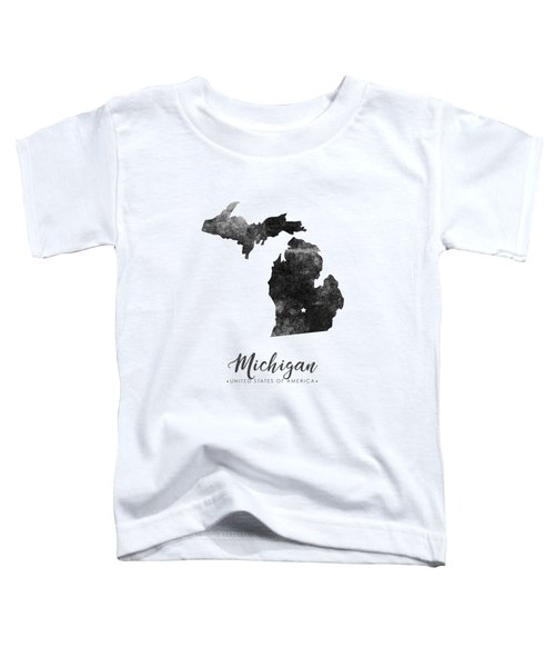 Michigan State Map Art - Grunge Silhouette Toddler T-Shirt