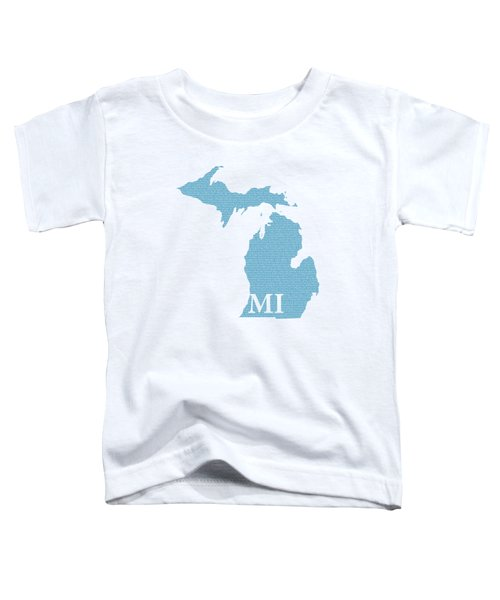 Michigan State Map With Text Of Constitution Toddler T-Shirt by Design Turnpike