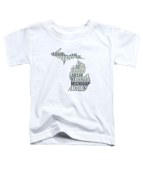 Michigan State Outline Word Map Toddler T-Shirt by Design Turnpike