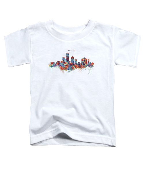 Milwaukee Watercolor Skyline Toddler T-Shirt
