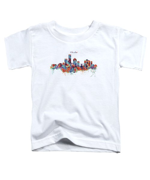Milwaukee Watercolor Skyline Toddler T-Shirt