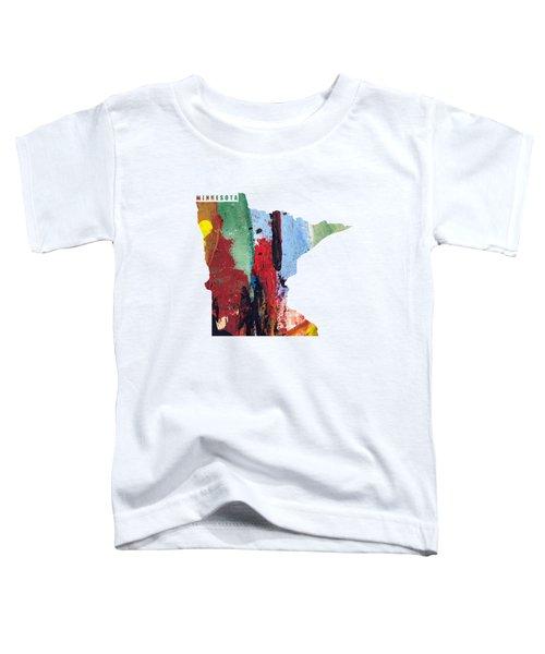 Minnesota Map Art - Painted Map Of Minnesota Toddler T-Shirt