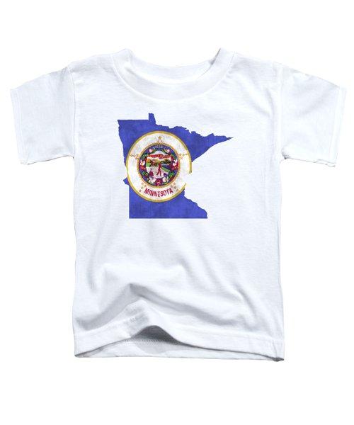 Minnesota Map Art With Flag Design Toddler T-Shirt