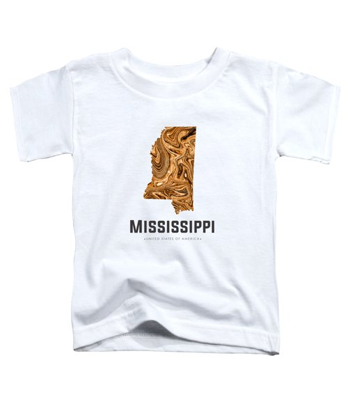 Mississippi Map Art Abstract In Brown Toddler T-Shirt