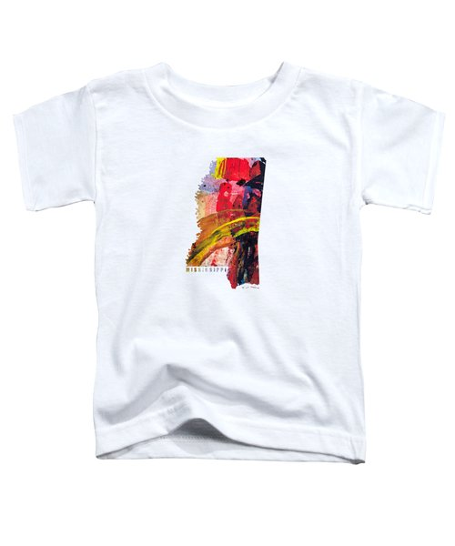 Mississippi Map Art - Painted Map Of Mississippi Toddler T-Shirt