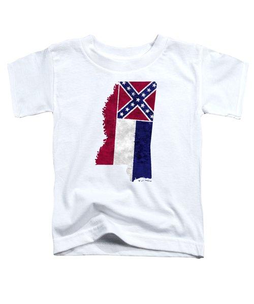 Mississippi Map Art With Flag Design Toddler T-Shirt