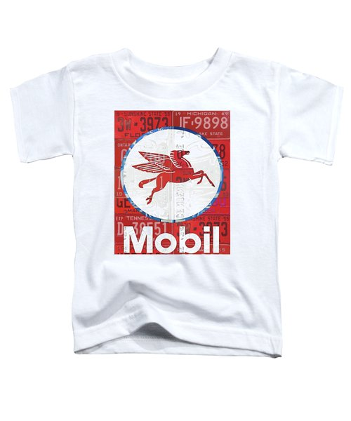 Mobil Oil Gas Station Vintage Sign Recycled License Plate Art Toddler T-Shirt