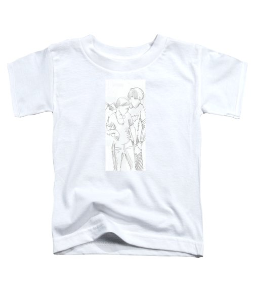 Modern Jive Ceroc Dancing Couple Pencil Drawing Toddler T-Shirt