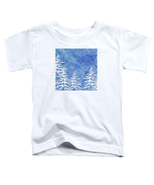 Modern Watercolor Winter Abstract - Snowy Trees Toddler T-Shirt