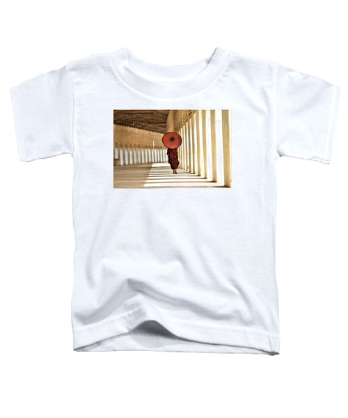 Monk With Umbrella Walking In Th Light Passway Toddler T-Shirt