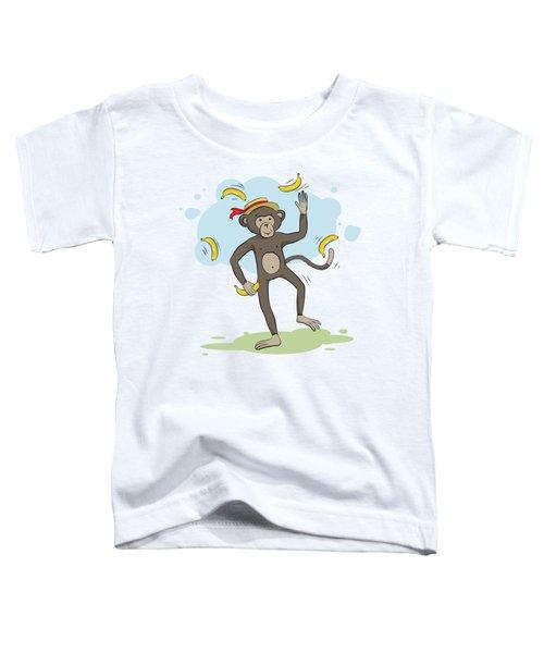 Monkey Juggling Bananas Toddler T-Shirt by Elena Chepel