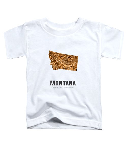 Montana Map Art Abstract In Brown Toddler T-Shirt