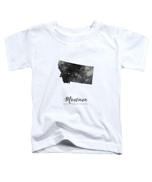Montana State Map Art - Grunge Silhouette Toddler T-Shirt