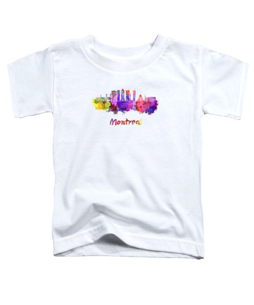 Montreal Skyline In Watercolor Splatters Toddler T-Shirt