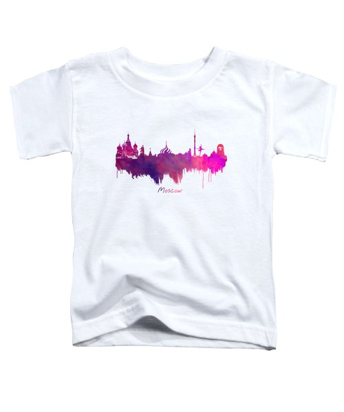Moscow Russia Skyline Purple Toddler T-Shirt by Justyna JBJart