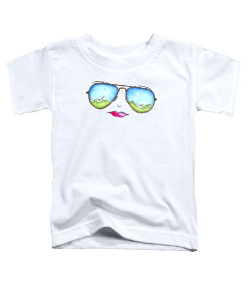 Mountain View Aviator Sunglasses Pop Art Painting Pink Lips Aroon Melane 2015 Collection Toddler T-Shirt