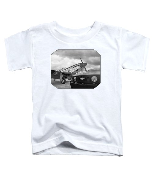 Mustang Gt With P51 Black And White Toddler T-Shirt