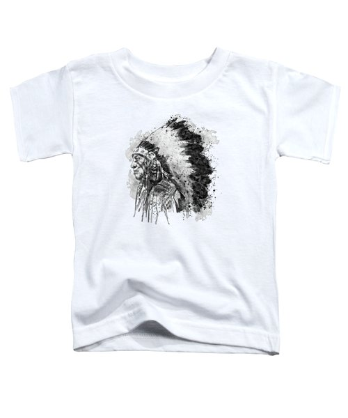 Native American Chief Side Face Black And White Toddler T-Shirt