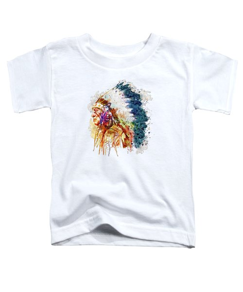 Native American Chief Side Face Toddler T-Shirt by Marian Voicu