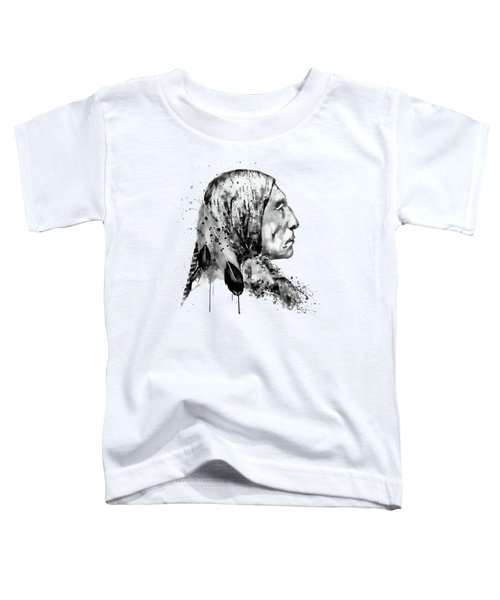 Native American Side Face Black And White Toddler T-Shirt