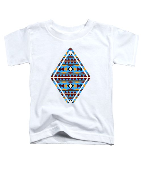 Navajo Blue Pattern Art Toddler T-Shirt by Christina Rollo