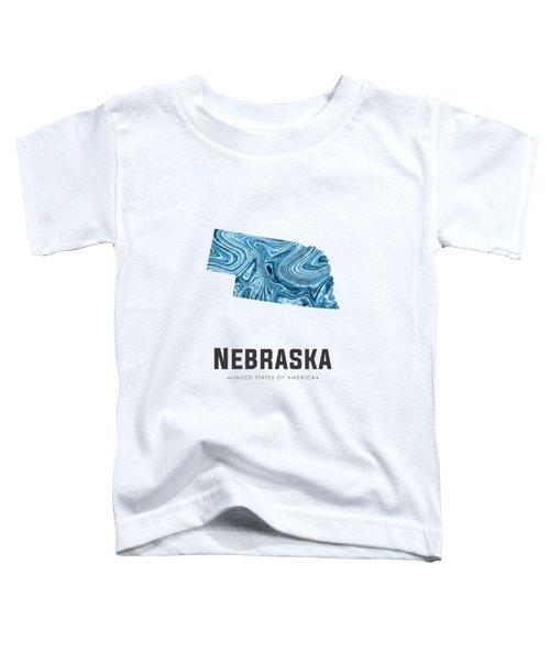 Nebraska Map Art Abstract In Blue Toddler T-Shirt